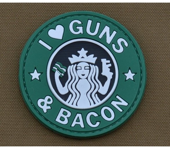 PVC Velcro Patch 'Guns Bacon'