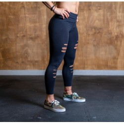 DISTRESSED 7/8 CORE LEGGINGS (black) Femme - Barbell Cartel