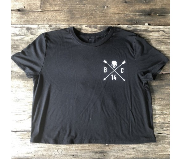 SKULL & ARROW CROP TEE Black - Barbell Cartel