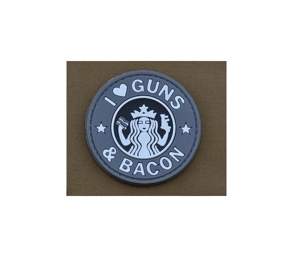 PVC patch 'I Love Guns and Bacon Grey' - Les patchs