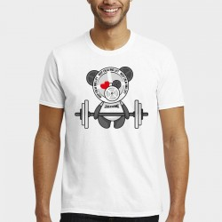 T-shirt Man Panda Lift (White) - Justhang