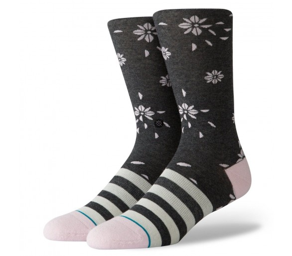 Chaussettes Department Store Floral Dive Crew (Charcoal) - Stance