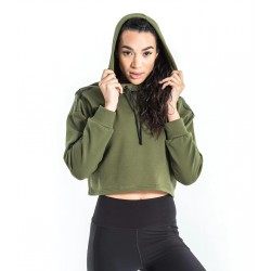 Atlas Crop Hoodie (OD Green & Black) - Virus
