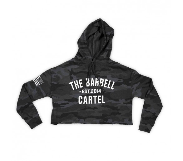 Crop Hoodie (Camo Black) - The Barbell Cartel
