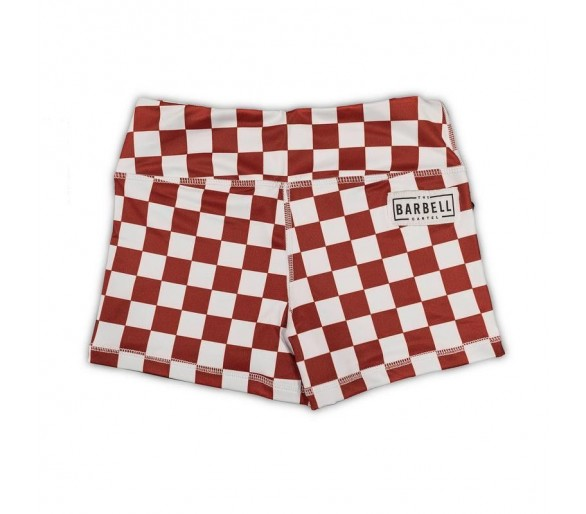 Women's Booty Short Comp Short 2.0 (Maroon Checkered) - The Barbell Cartel