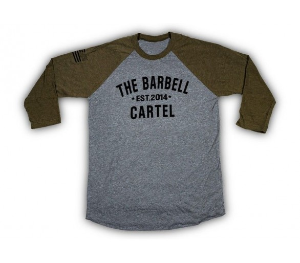 3/4 Baseball Tee OD Green / Grey ( unisex ) - Barbell Cartel