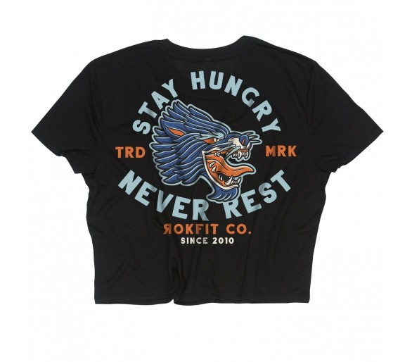 "Women's Crop Top ""Stay Hungry, Never Rest"" - Rokfit"