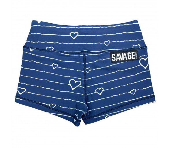 Women's Booty Short (Blue Heart) - Savage Barbell